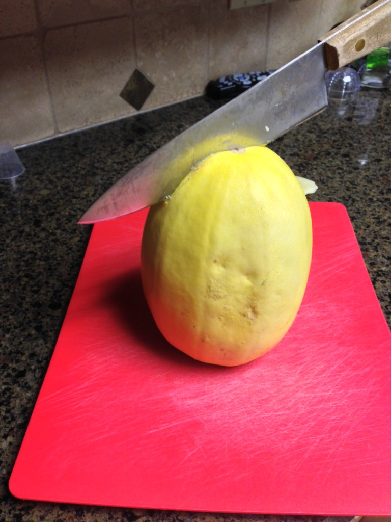 Cutting into a squash